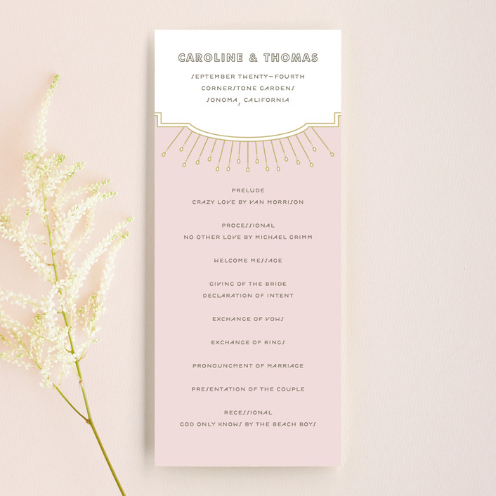 """Modern Deco"" - Vintage Wedding Programs in Blush by Bourne Paper Co.."