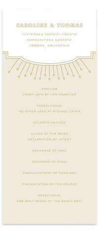 This is a portrait vintage, beige Wedding Programs by Bourne Paper Co. called Modern Deco with Standard printing on Signature in Classic Flat Card format. A deco themed starburst background paired with clean, modern fonts.