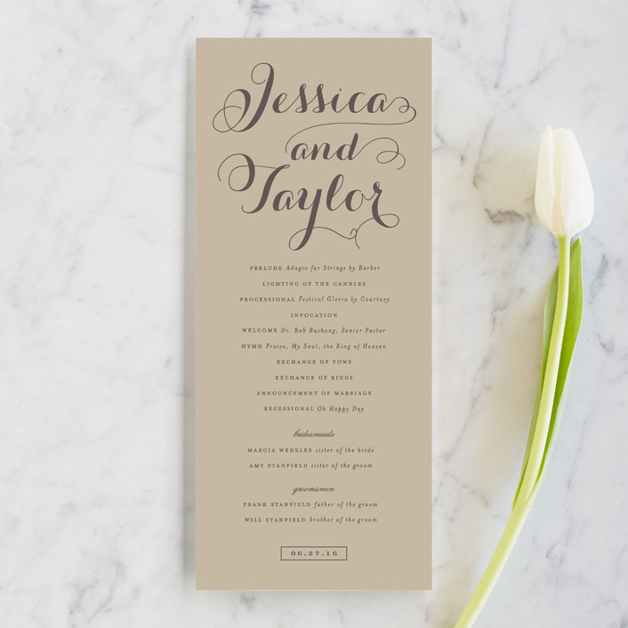 """""""Just Lovely"""" - Classical, Simple Unique Wedding Programs in Grey Chalkboard by Sara Hicks Malone."""