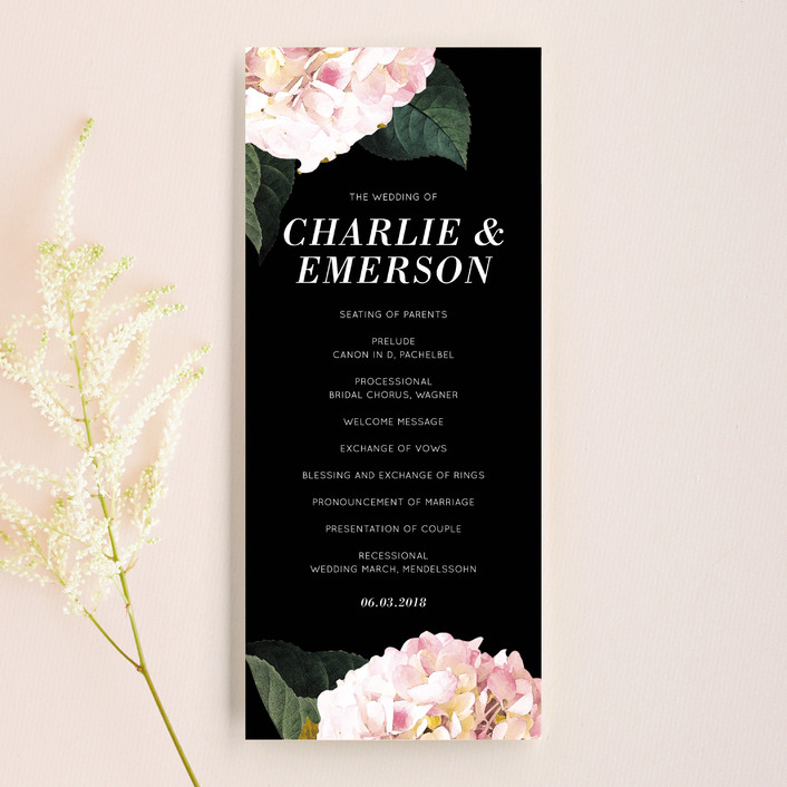 """""""Peonie Party"""" - Floral & Botanical Unique Wedding Programs in Noir by Baumbirdy."""