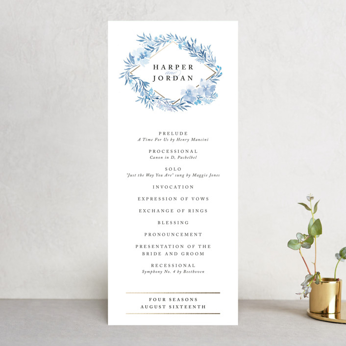 """""""Poetic Blue"""" - Wedding Programs in Sky by Qing Ji."""