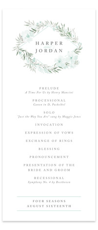 This is a portrait botanical, green, grey Wedding Programs by Qing Ji called Poetic Blue with Standard printing on Signature in Classic Flat Card format. Share the details of your wedding ceremony with a beautiful wedding program printed on luxe ...