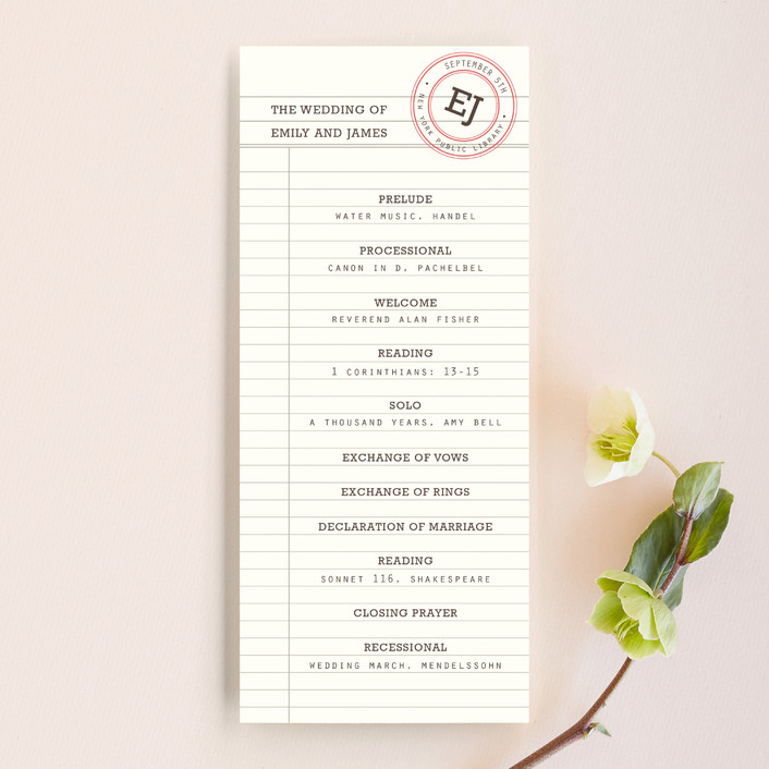"""""""Library"""" - Vintage Unique Wedding Programs in Soft Ruby by annie clark."""