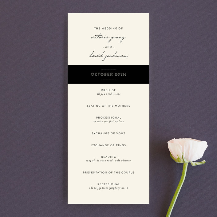 """Plain Jane"" - Elegant, Simple Unique Wedding Programs in Classic Cream by Design Lotus."