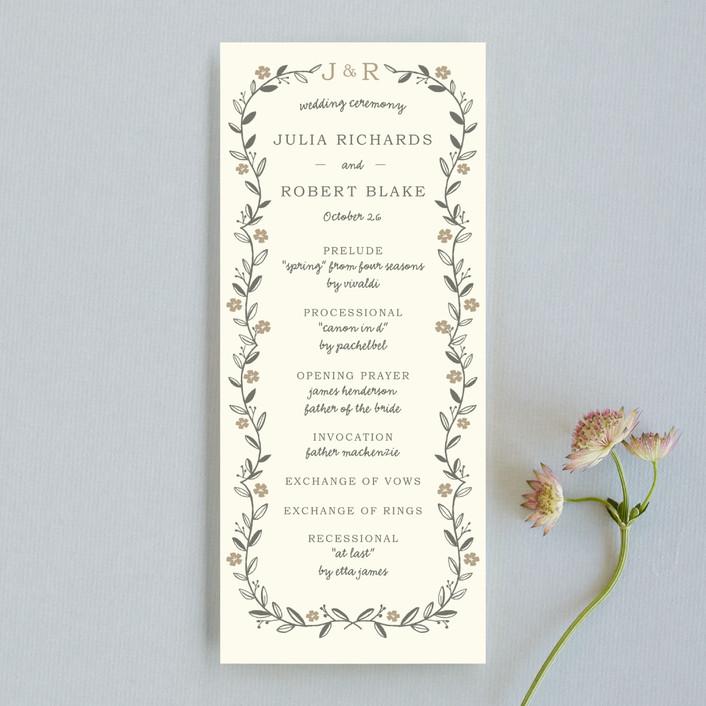 """Garland"" - Monogrammed, Rustic Unique Wedding Programs in Harvest by SimpleTe Design."