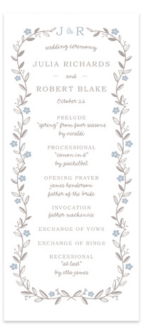 This is a portrait monogrammed, rustic, grey, blue Wedding Programs by SimpleTe Design called Garland with Standard printing on Signature in Classic Flat Card format. Elegant garland trimmed wedding invite with leaves and flowers.