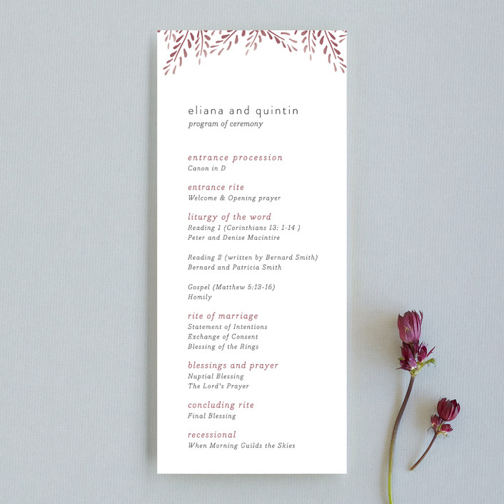 """Lupines"" - Rustic Unique Wedding Programs in Marsala by R studio."