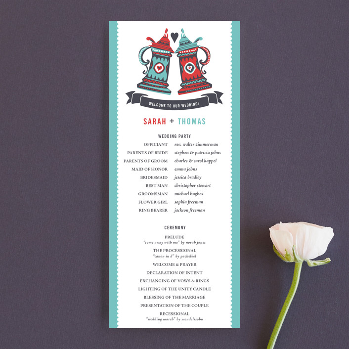 """German Stein Toast"" - Whimsical & Funny, Destination Unique Wedding Programs in Turquoise by Casey Fritz."