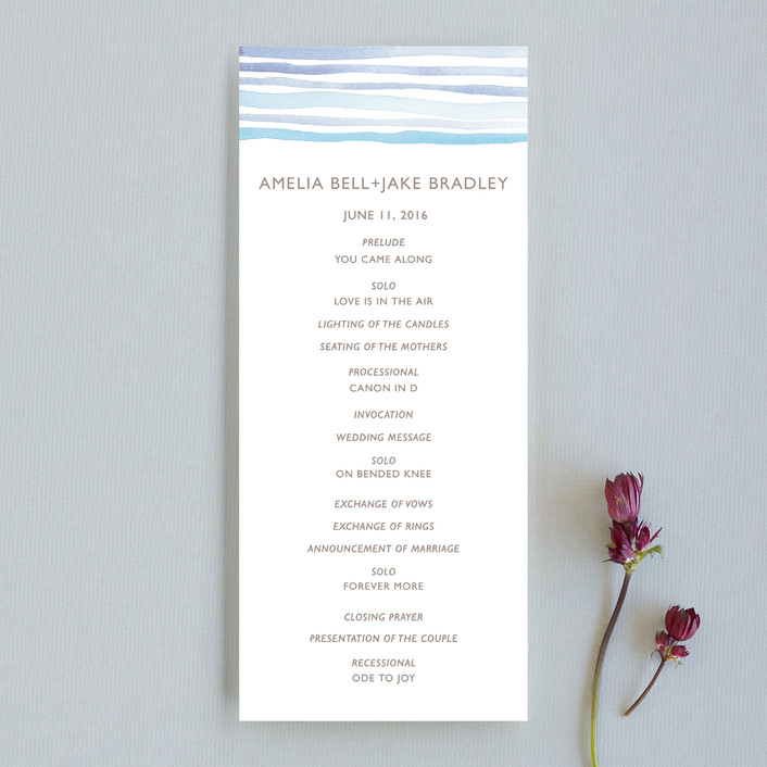 """Horizon"" - Modern, Simple Unique Wedding Programs in Light Cornflower by Dean Street."