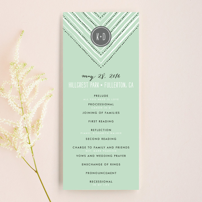 """Whimsy Stripe"" - Monogrammed, Whimsical & Funny Unique Wedding Programs in Mint by Alethea and Ruth."
