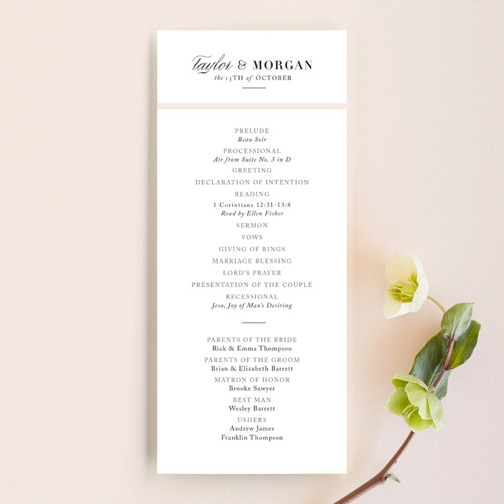 """""""Darling and Dashing"""" - Preppy Unique Wedding Programs in Blush by Alston Wise."""