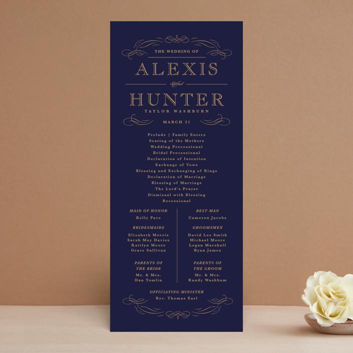 """Elegant Flourishes"" - Vintage, Elegant Unique Wedding Programs in Navy by Kristen Smith."