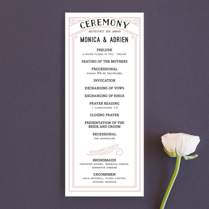 """Romantic Revelry"" - Bold typographic, Vintage Unique Wedding Programs in Blush by GeekInk Design."