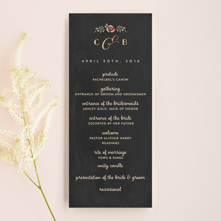 """Merriment"" - Bold typographic, Whimsical & Funny Unique Wedding Programs in Charcoal by Lori Wemple."