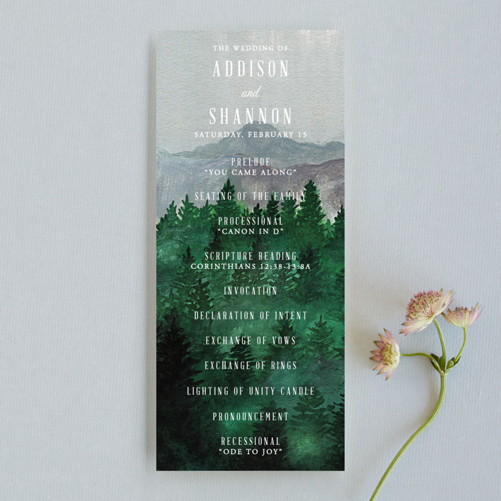 """Adventure Awaits"" - Rustic, Destination Wedding Programs in Smoke by Elly."