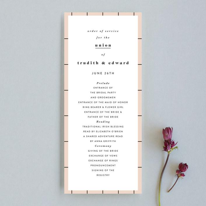 """New York"" - Unique Wedding Programs in Blush by Nazia Hyder."