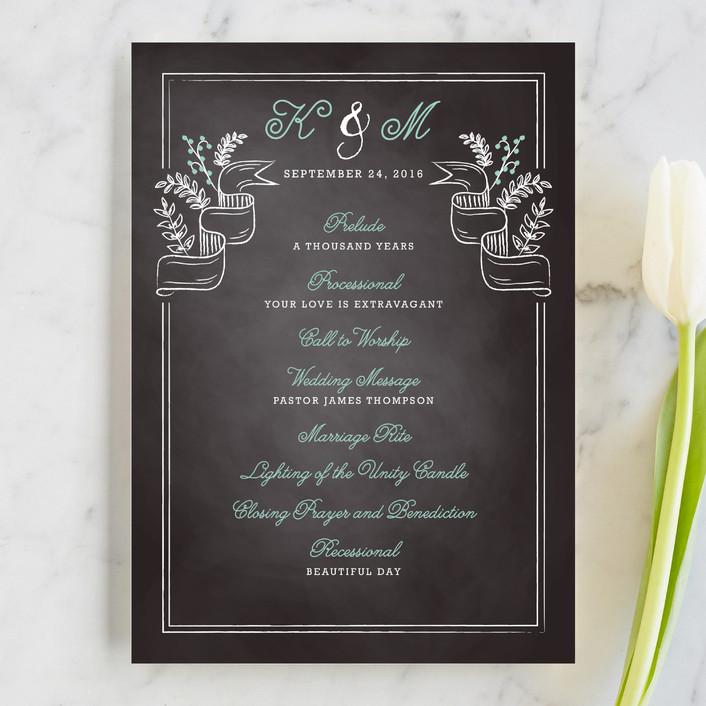 """Floral Chalkboard"" - Rustic Unique Wedding Programs in Aqua by Lehan Veenker."
