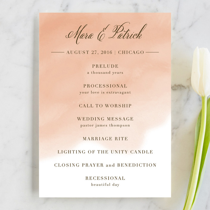 """Watercolor Wash"" - Classical, Beach Unique Wedding Programs in Peach by Lehan Veenker."