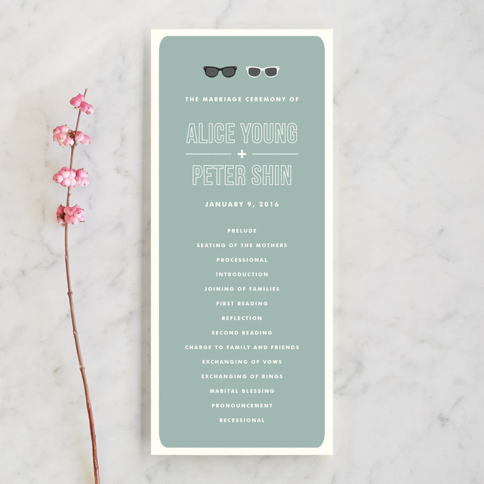 """""""Shades"""" - Whimsical & Funny, Beach Unique Wedding Programs in Celadon by Olive and Violet."""