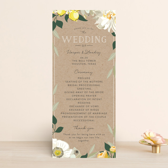 """Spring Blooms"" - Floral & Botanical Unique Wedding Programs in Blush by Susan Moyal."