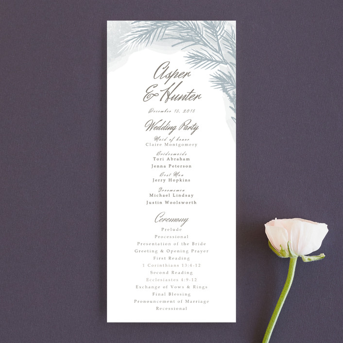 """Winter Dream"" - Unique Wedding Programs in Ice Grey by Karidy Walker."