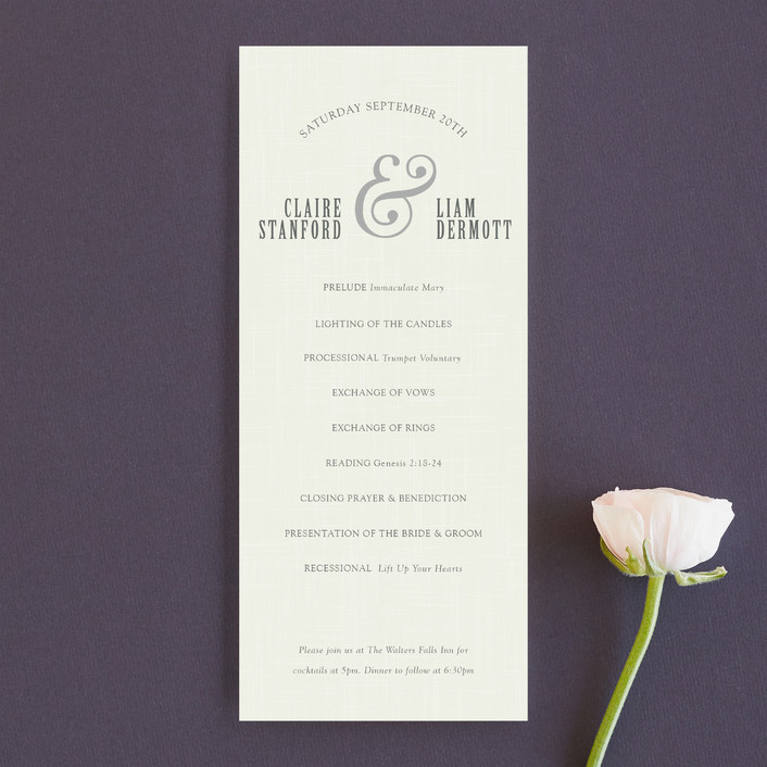 """""""Crosshatch"""" - Modern, Bold typographic Unique Wedding Programs in Classic by Stacey Hill."""