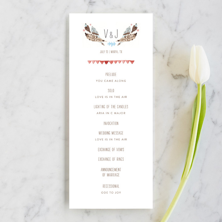 """Dream Catcher"" - Whimsical & Funny, Rustic Unique Wedding Programs in Dusty Blue by Pistols."