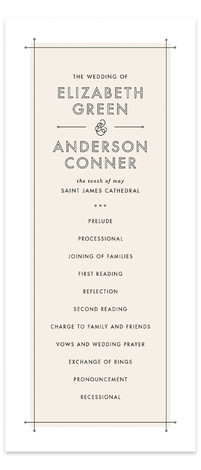 This is a portrait modern, beige Wedding Programs by Lauren Chism called Me & You with Standard printing on Signature in Classic Flat Card format. Modern meets romance in a fresh way with this clean type inspired wedding invitation.
