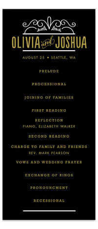 This is a portrait classical, formal, vintage, black Wedding Programs by Alethea and Ruth called Luxe with Standard printing on Signature in Classic Flat Card format. This wedding is full of ornamental swirls and clean type.