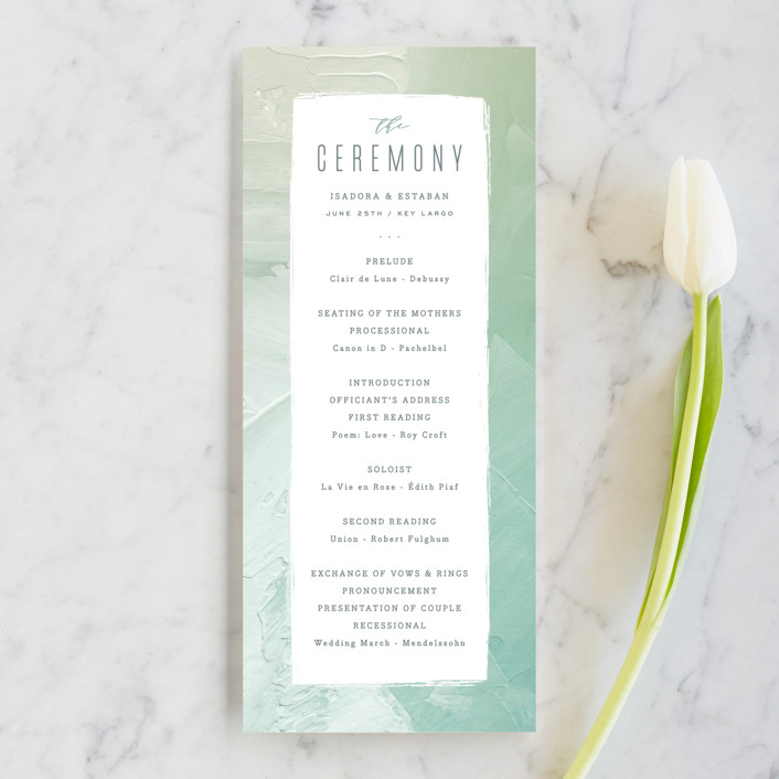 """""""Painted Sea"""" - Unique Wedding Programs in Seafoam by Hooray Creative."""