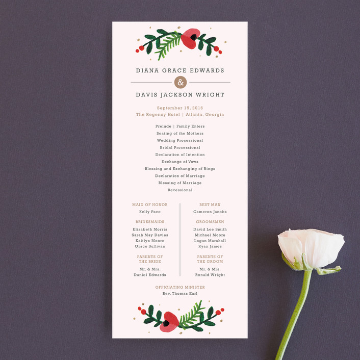 """""""Simple Flora"""" - Floral & Botanical Unique Wedding Programs in Powder Pink by Kristen Smith."""