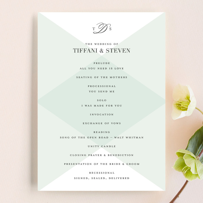 """""""Overlapping Triangles"""" - Formal, Elegant Unique Wedding Programs in Limestone by Jill Means."""