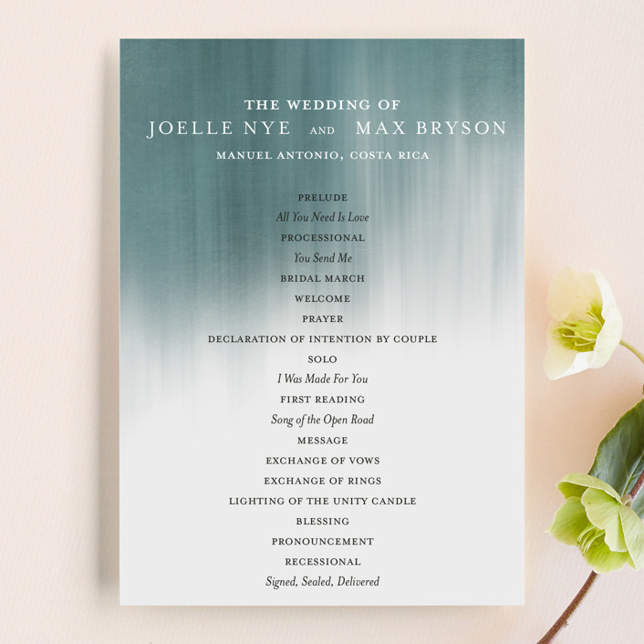 """Modern Beach"" - Beach, Modern Unique Wedding Programs in Dark Blue by Paper Plains."