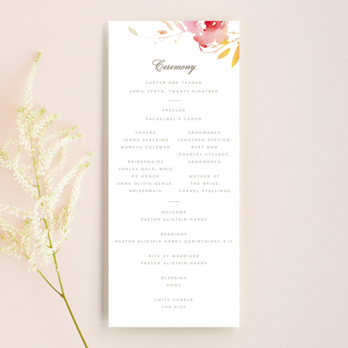 """Stately Florals"" - Wedding Programs in Poppy by Lori Wemple."