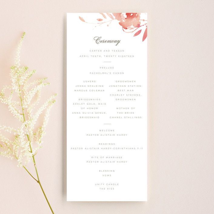 """""""Stately Florals"""" - Wedding Programs in Poppy by Lori Wemple."""