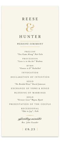 This is a portrait classical, elegant, formal, simple, traditional, beige Wedding Programs by chocomocacino called Valencay with Standard printing on Signature in Classic Flat Card format. Share the details of your wedding ceremony with a beautiful wedding program printed on ...