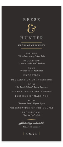 This is a portrait classical, elegant, formal, simple, traditional, black Wedding Programs by chocomocacino called Valencay with Standard printing on Signature in Classic Flat Card format. Share the details of your wedding ceremony with a beautiful wedding program printed on ...