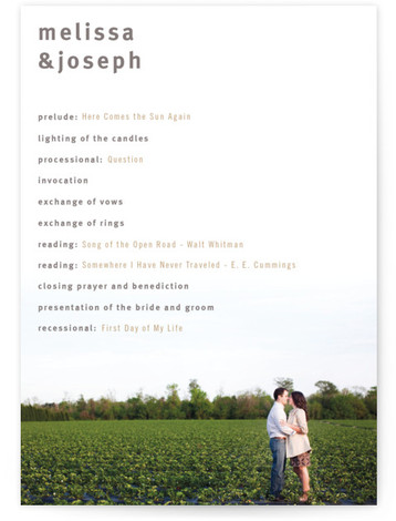 This is a landscape, portrait modern, simple, silver Wedding Programs by Jack Knoebber called A Sweet Afternoon with Standard printing on Signature in Classic Flat Card format. Share the details of your wedding ceremony with a beautiful wedding program printed ...