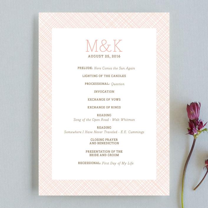 """Cross Hatch Frame"" - Modern, Preppy Unique Wedding Programs in Blush by annie clark."