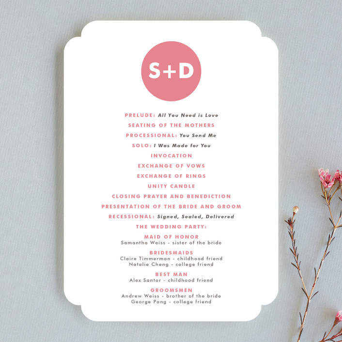 """Mod Monogram"" - Simple, Modern Unique Wedding Programs in Strawberry by Waui Design."