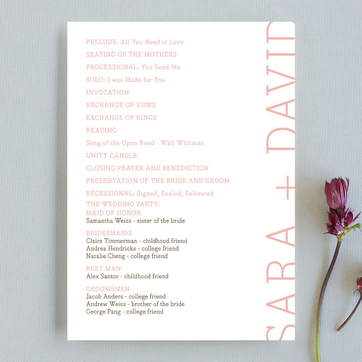 """Side type"" - Modern Unique Wedding Programs in Blush by annie clark."