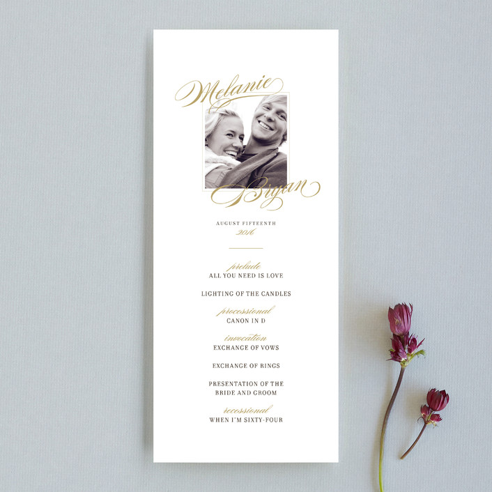 """Elegant Script"" - Classical, Classical Unique Wedding Programs in Gold by Jody Wody."