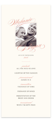 This is a landscape, portrait classical, elegant, pink Wedding Programs by Jody Wody called Elegant Script with Standard printing on Signature in Classic Flat Card format. Share the details of your wedding ceremony with a beautiful wedding program printed on ...