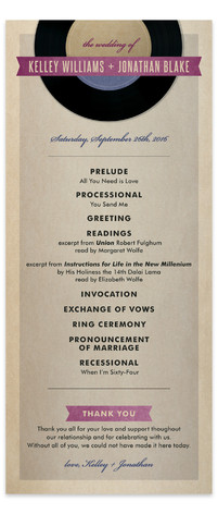 Wedding Vinyl Wedding Programs