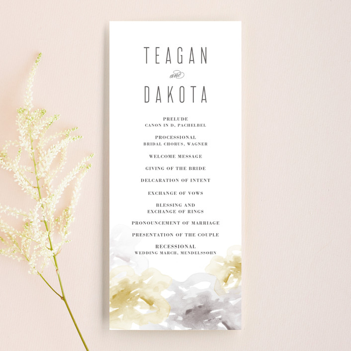 """Flora Romance"" - Unique Wedding Programs in Rose by Melanie Severin."