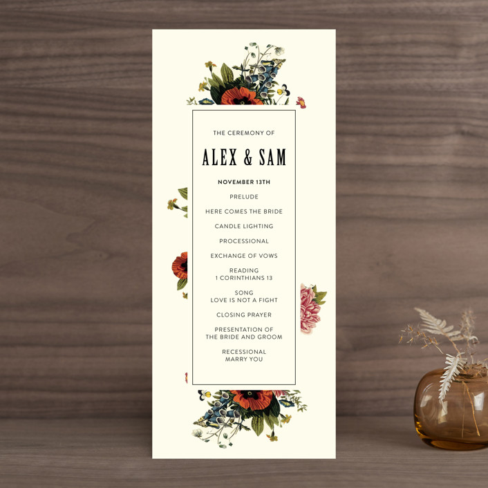 """Vintage Garden Invite"" - Floral & Botanical, Vintage Unique Wedding Programs in Vintage Beige by Alisa Wismer."