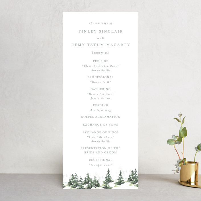 """""""On the Slopes"""" - Rustic Wedding Programs in Fog by Mere Paper."""