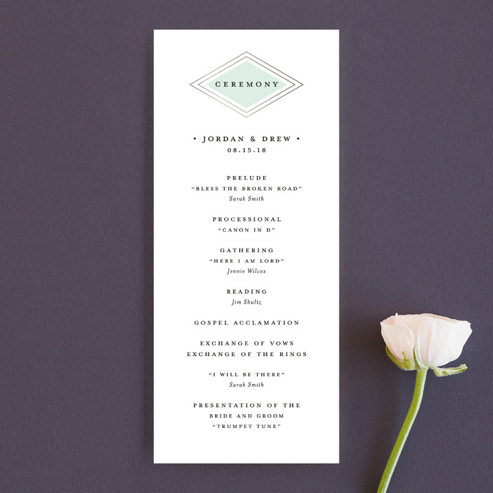 """Modern Elegance"" - Modern Unique Wedding Programs in Mint by Stacey Meacham."