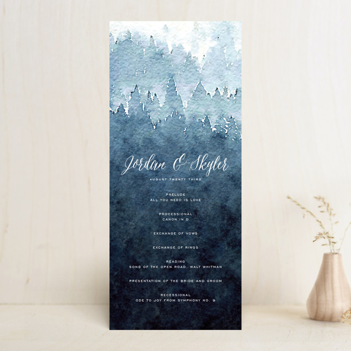 """Mountain Retreat"" - Rustic Wedding Programs in Evening Sky by Design Lotus."