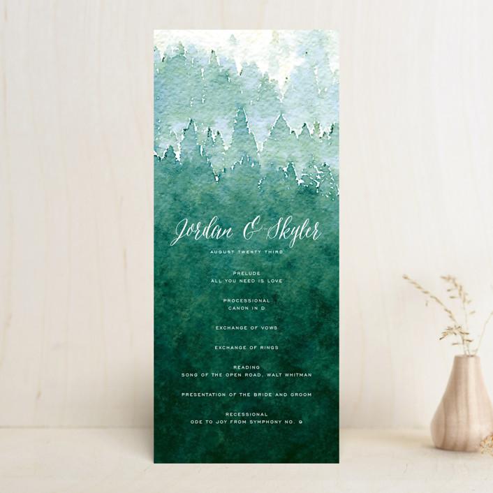 """""""Mountain Retreat"""" - Rustic Unique Wedding Programs in Evening Sky by Design Lotus."""